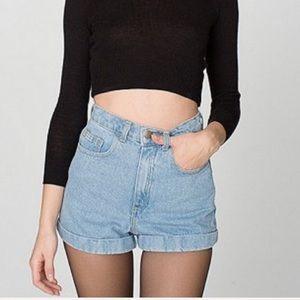 American Apparel Cuffed Denim Shorts